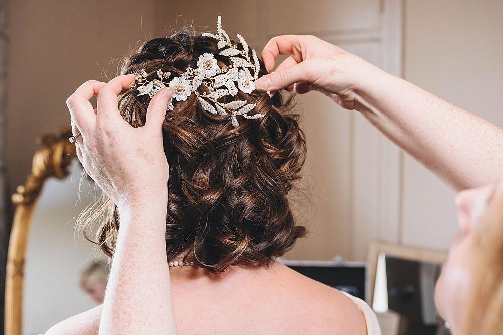Bride Bridal Hair Short Accessory Broadfield Court Wedding Marta May Photography
