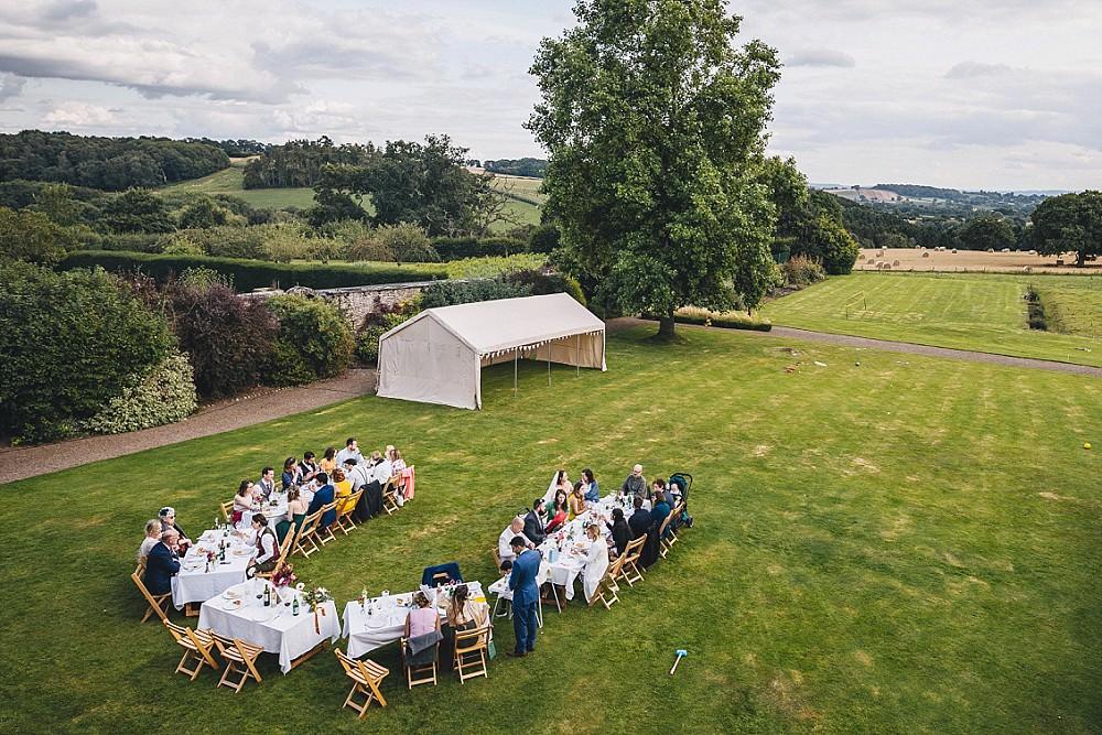 Outdoor Garden Reception U Shape Table Broadfield Court Wedding Marta May Photography