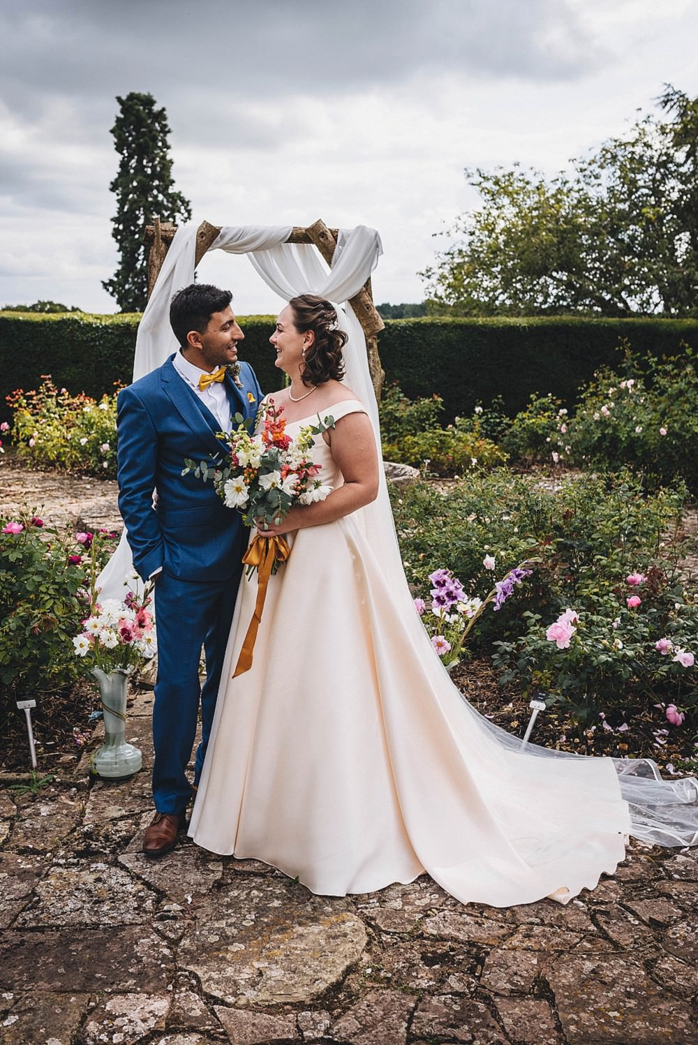 Broadfield Court Wedding Marta May Photography Outdoor Garden Ceremony Flower Arch Fabric