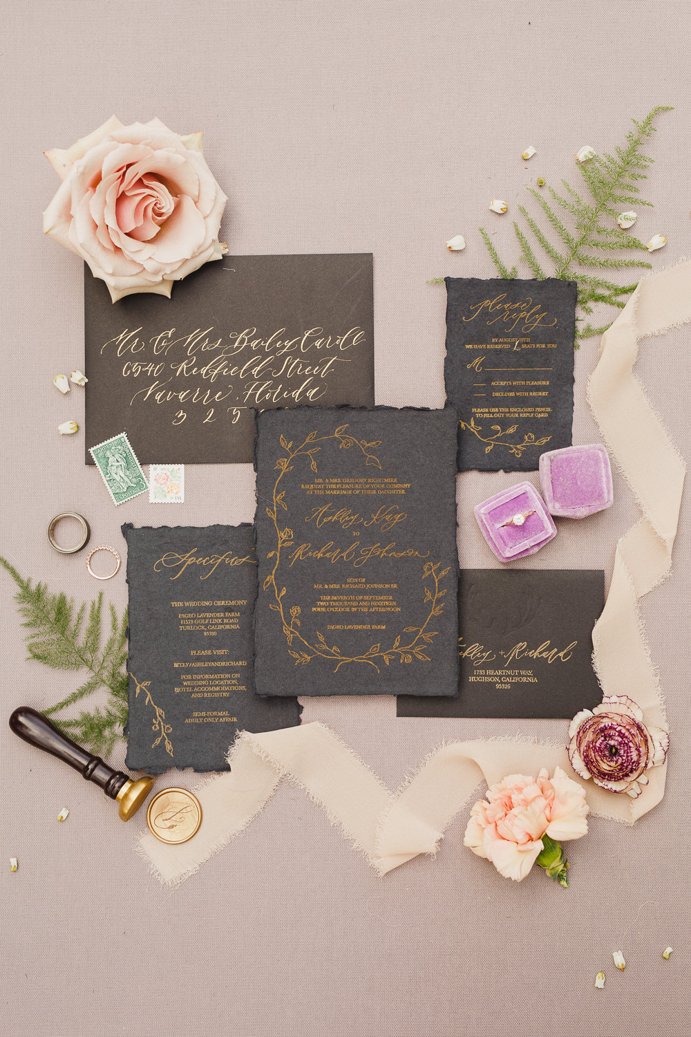 Stationery Black Gold Calligraphy Invite Invitation Enchanted Forest Wedding Kristen Booth Photography