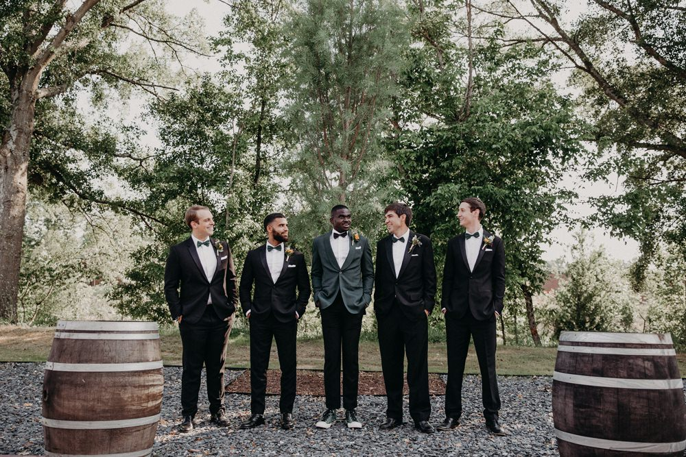 Groom Suit Bow Tie Green Groomsmen Georgia Wedding Aline Marin Photography