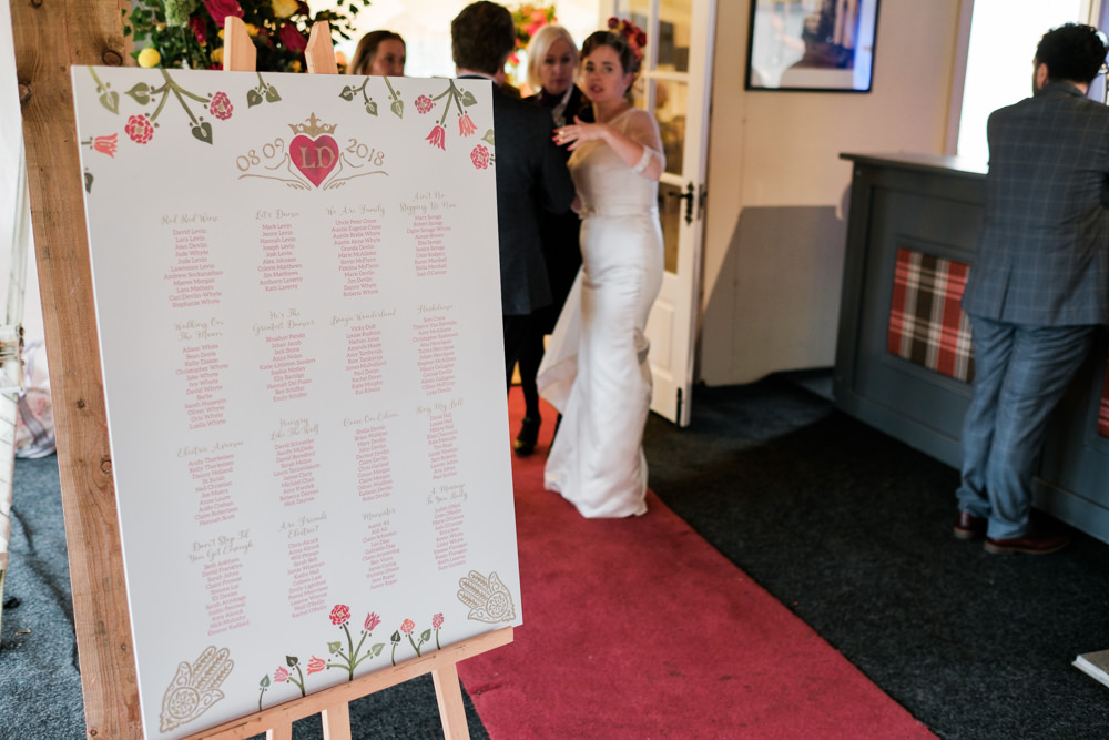 Table Plan Seating Chart Glenarm Castle Wedding Jonathan Ryder Photography