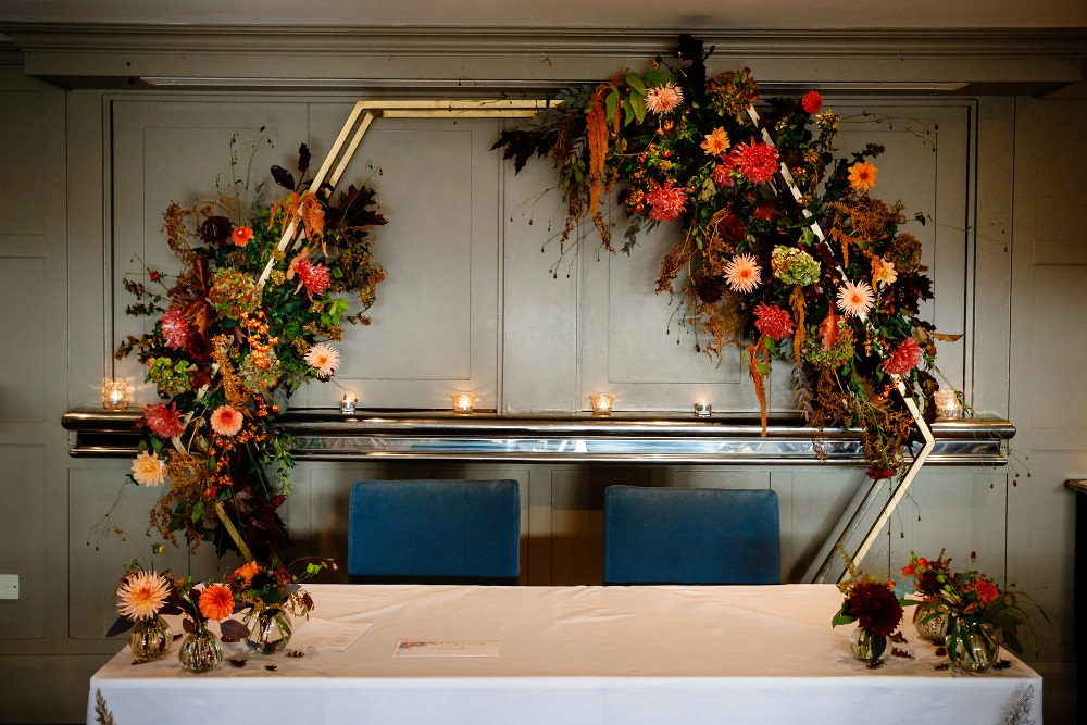 Hexagon Flower Arch Autumn Greenery Great John Street Hotel Wedding About Today Photography