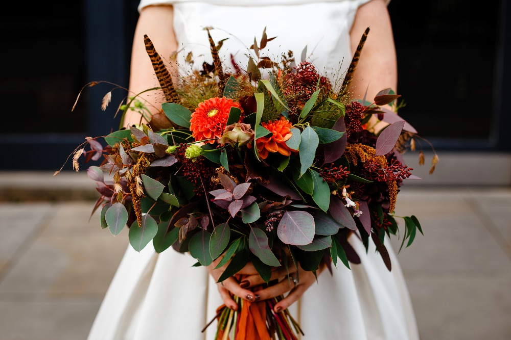 Bouquet Flowers Bride Bridal Orange Dahlia Feather Greenery Ribbon Great John Street Hotel Wedding About Today Photography