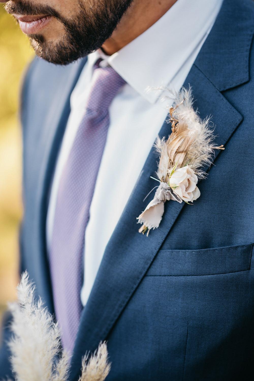 Groom Buttonhole Pampas Grass Guatemala Wedding Daniel Lopez Perez Photography