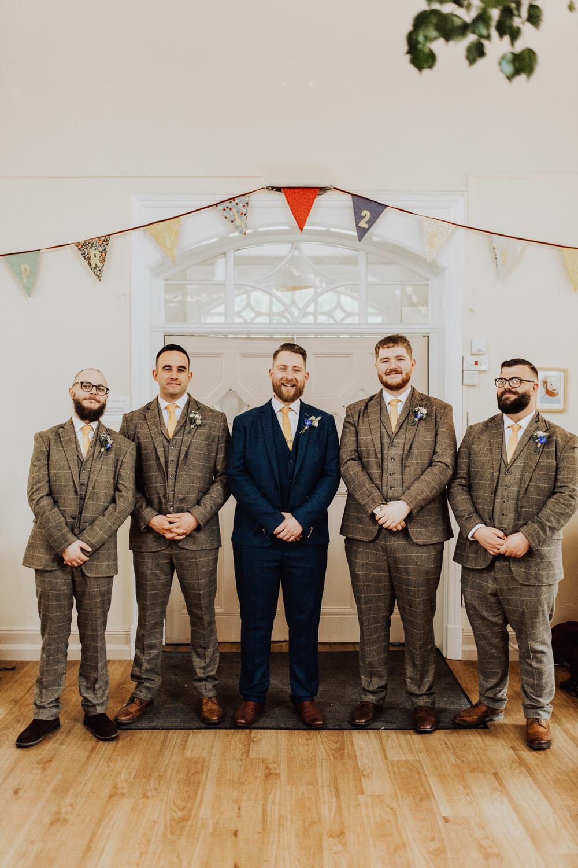 Groom Suit Blue Yellow Tie Groomsmen Tweed Homemade Wedding Wyldbee Photography