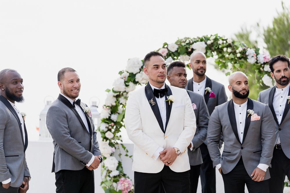 Groom Groomsmen Suits Tux Tuxedo Bow Tie Ibiza Destination Wedding David Christopher Photography