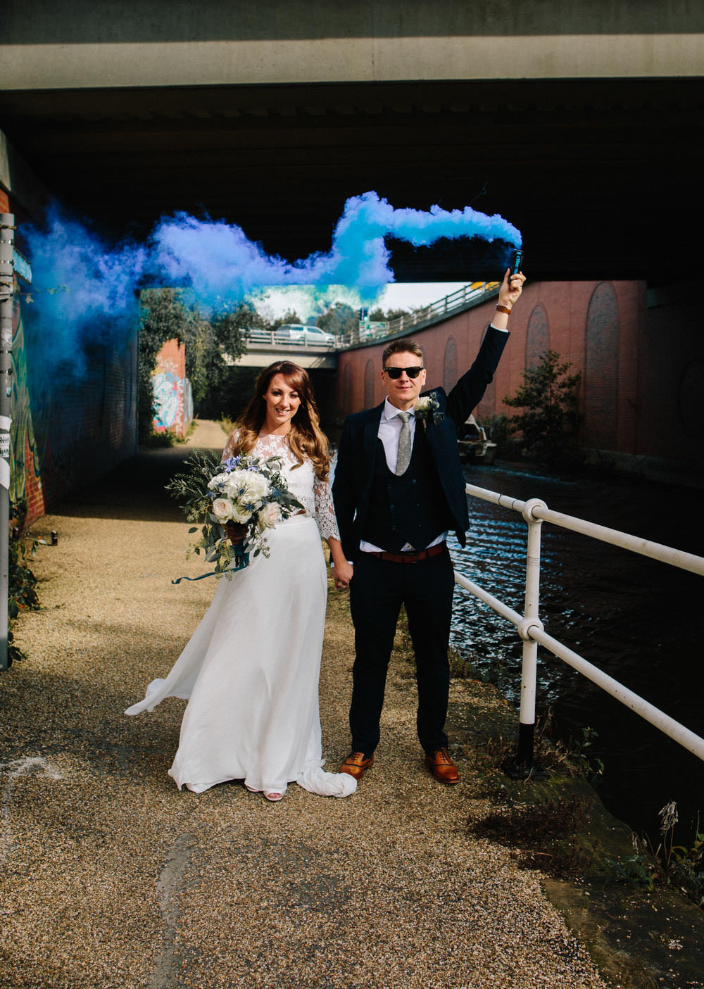Indie Warehouse Wedding Dan Hough Photo Smoke Bomb
