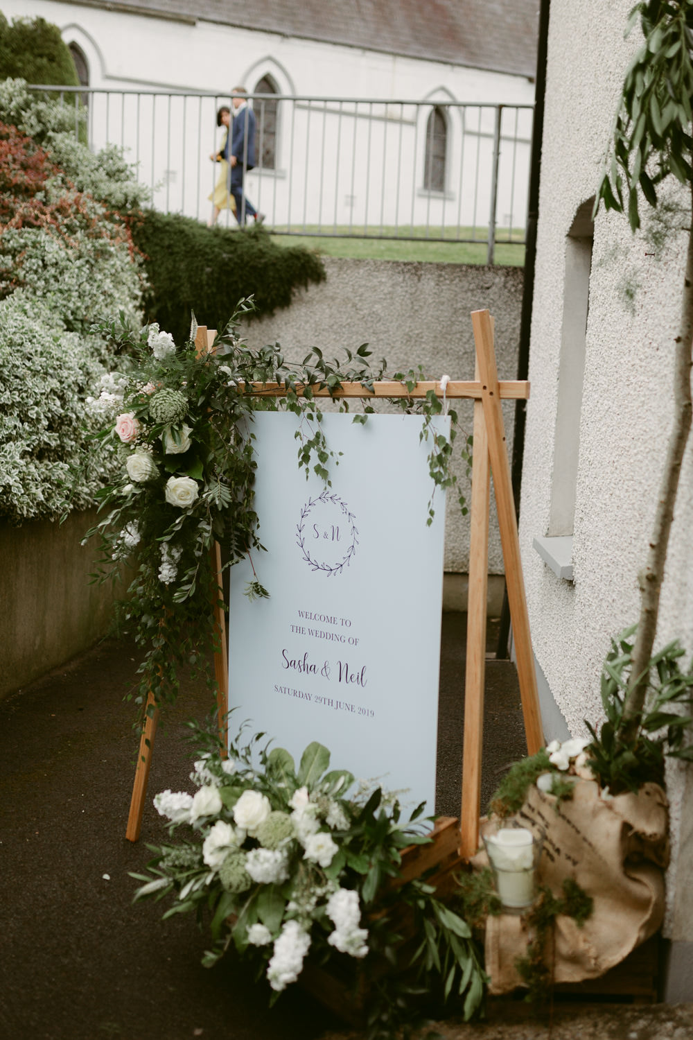 Welcome Sign Signs Signage Flowers Banner Ivory Pavilion Wedding Iain Irwin Photography