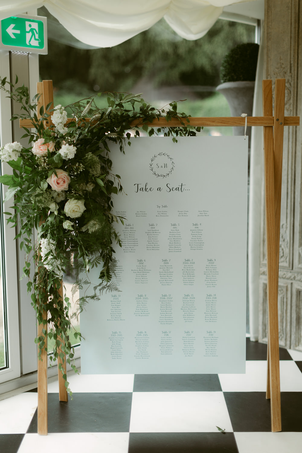 Table Plan Seating Chart Sign Signs Signage Flowers Banner Ivory Pavilion Wedding Iain Irwin Photography