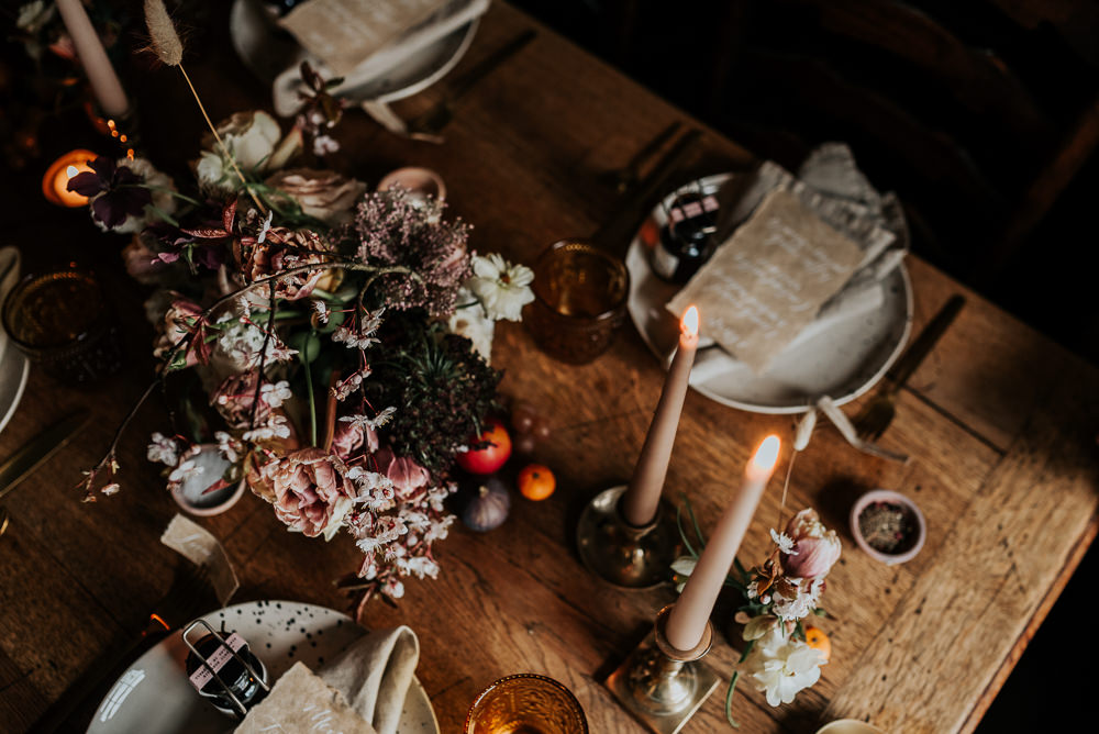 Table Tablescape Candles Flowers Rustic Cosy Lake District Elopement Jenny Appleton Photography