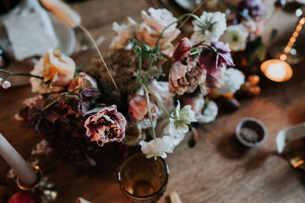 Centrepiece Flowers Pink White Lake District Elopement Jenny Appleton Photography