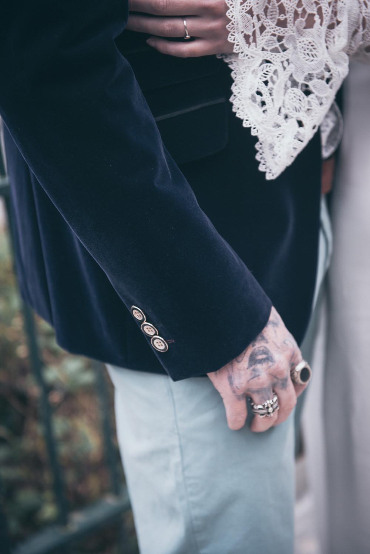 Groom Velvet Jacket Modern Wedding Ideas Cat Arwel Photography
