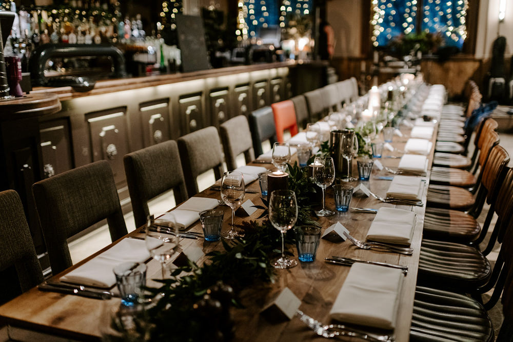 Long Table Greenery Foliage Candles Runner NYE Wedding Ellie Gillard Photography