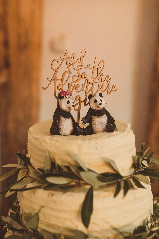 Buttercream Cake Greenery Foliae Panda Topper Old Greens Barn Wedding Matt Penberthy Photography