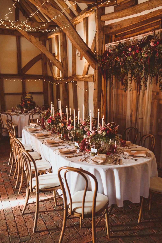 Top Table Flower Backdrop Autumn Candles Old Greens Barn Wedding Matt Penberthy Photography