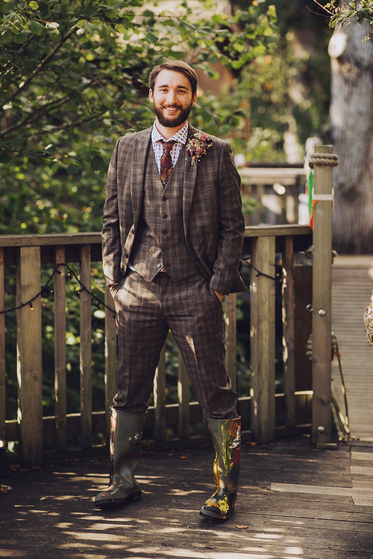 Groom Brown Suit Bug Shirt Wellies Treehouse Wedding Honeydew Moments