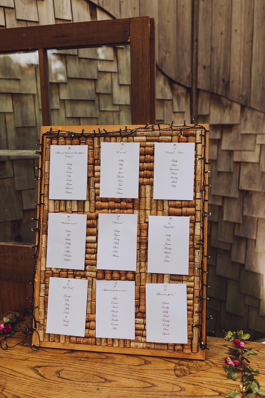 Cork Table Plan Seating Chart Treehouse Wedding Honeydew Moments