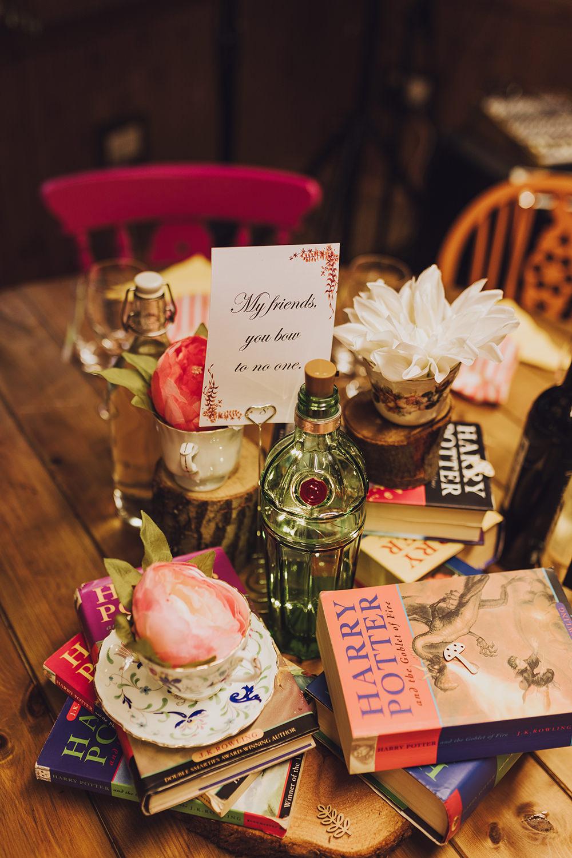 Centrepiece Flowers Log Slice Books Harry Potter Treehouse Wedding Honeydew Moments
