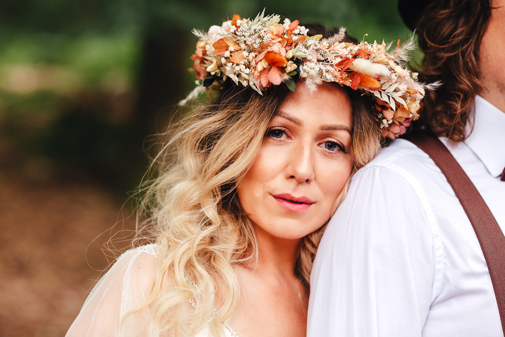 Bride Bridal Make Up Flower Crown Bohemian Elopement Kirsty Mackenzie Photography