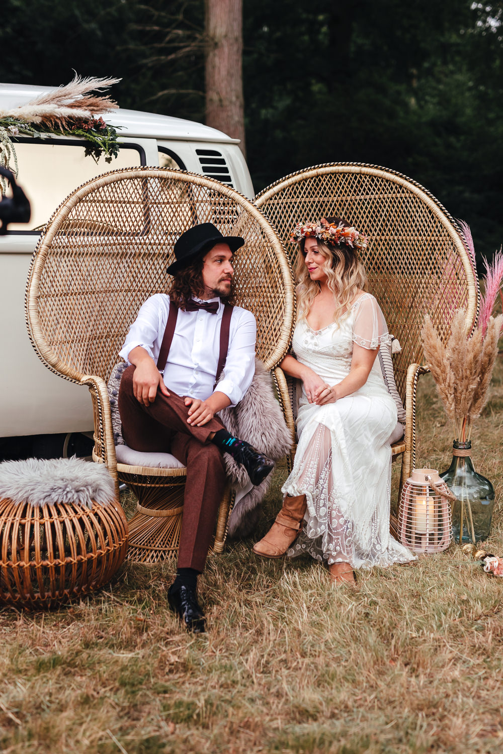 Peacock Chairs Bride Groom Bohemian Elopement Kirsty Mackenzie Photography