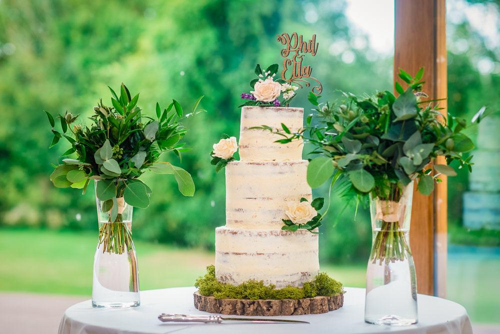 Semi Naked Cake Tower Flowers Log Slice Colville Hall Wedding GK Photography