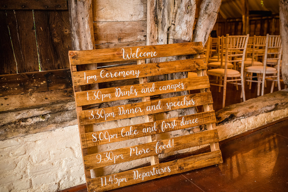 Wooden Pallet Sign Signs Signage Colville Hall Wedding GK Photography