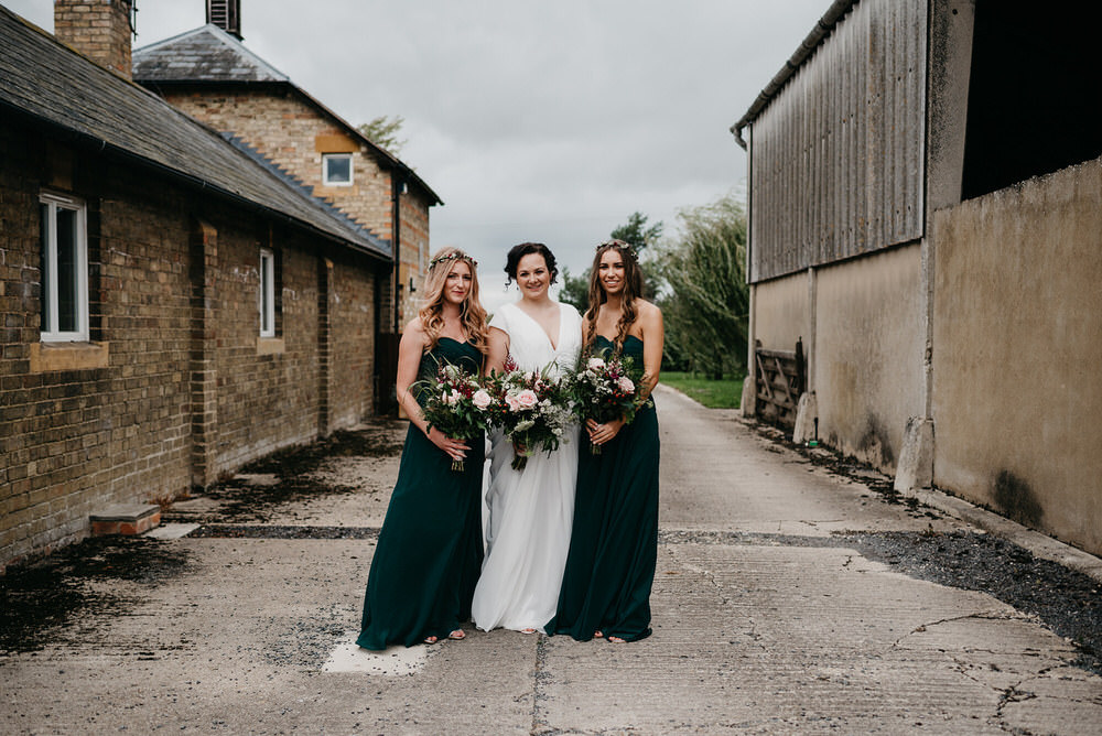 Bridesmaid Bridesmaids Dress Dresses Green Cotswold Woodland Glamping Wedding Elaine Williams Photography