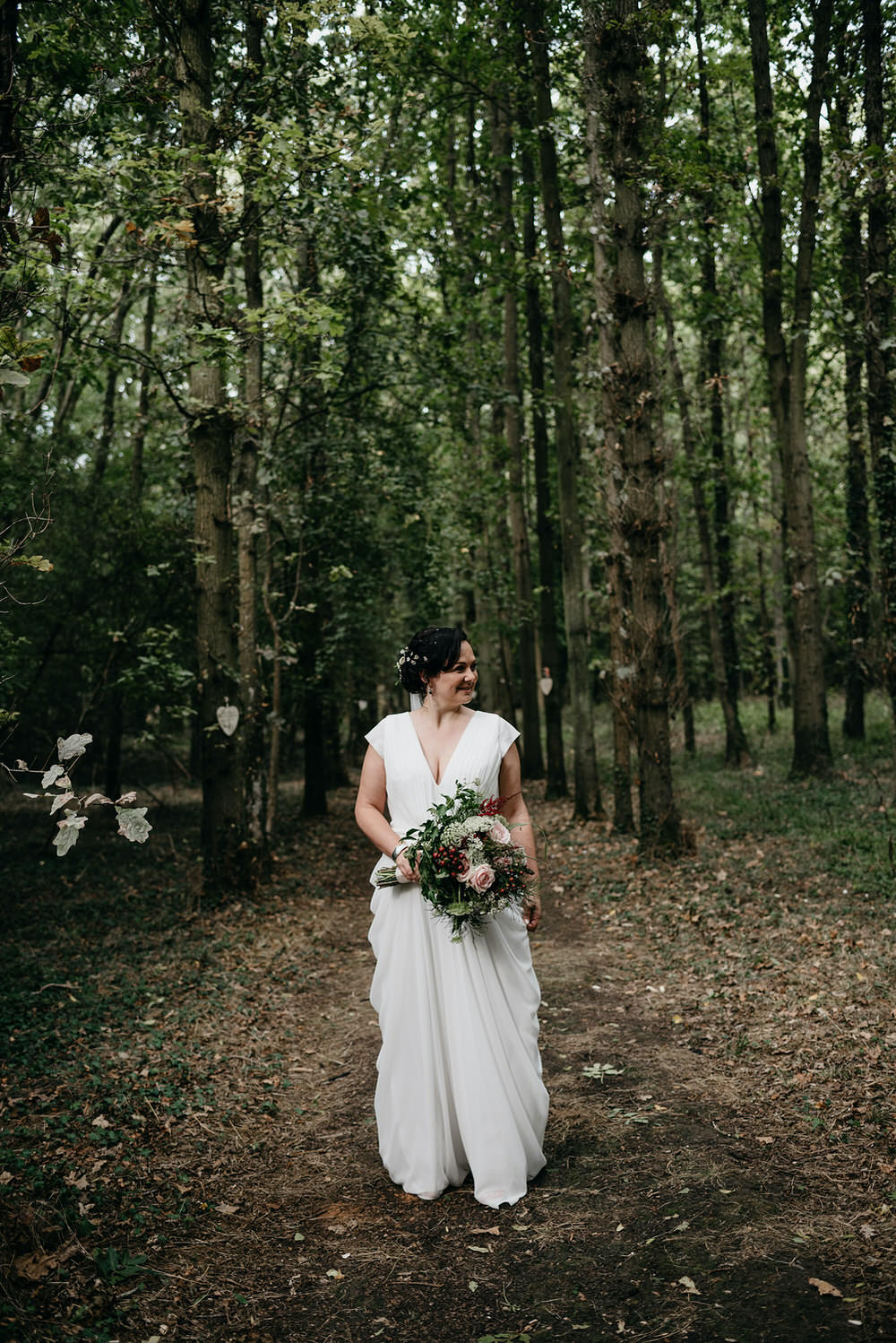 Dress Gown Bride Bridal Simple Chic Straps Veil Cotswold Woodland Glamping Wedding Elaine Williams Photography