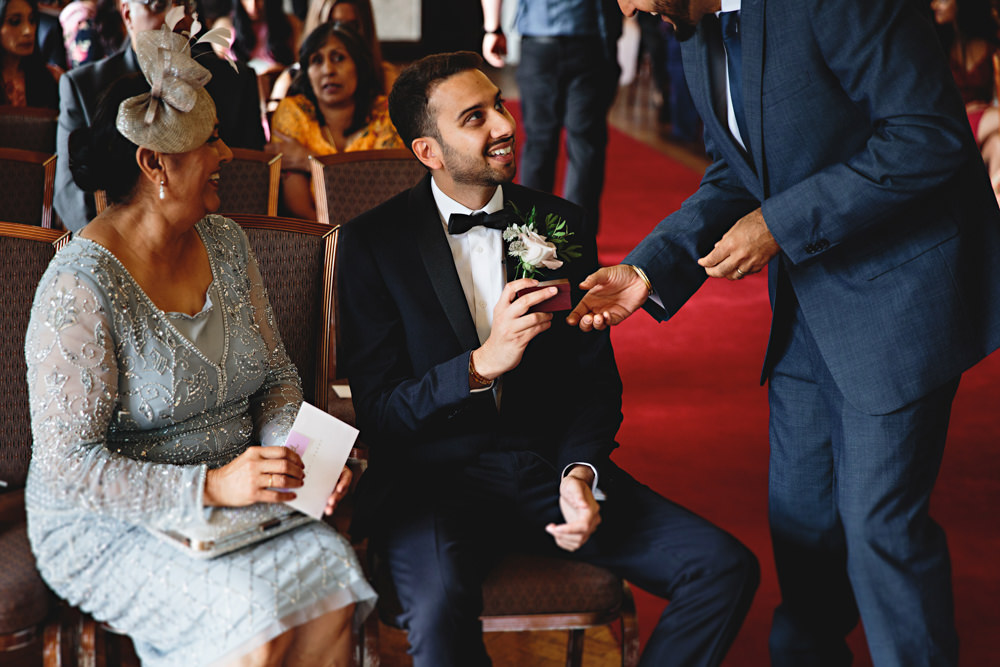 Groom Suit Navy Bow Tie Dunchurch Park Hotel Wedding HBA Photography