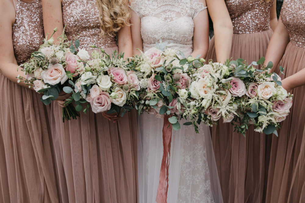 Bouquet Flowers Bride Bridal Pale Pink Rose Eucalyptus Ribbon Bridesmaid Field Kitchen Wedding Siobhan Amy Photography