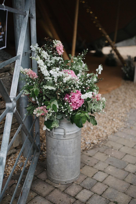 Milk Churn Flowers Field Kitchen Wedding Siobhan Amy Photography