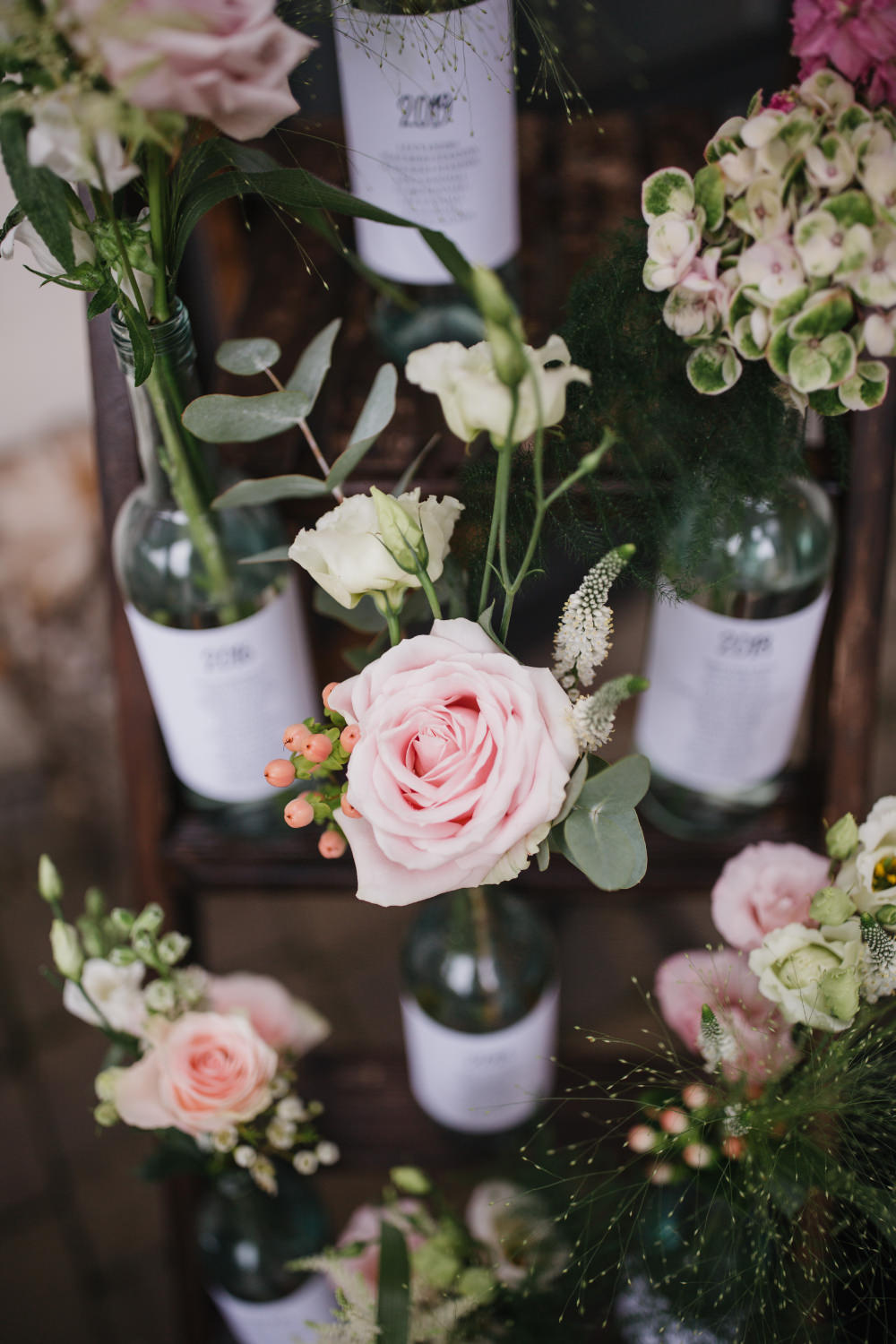 Bottle Flowers Wooden Ladder Table Plan Seating Chart Field Kitchen Wedding Siobhan Amy Photography