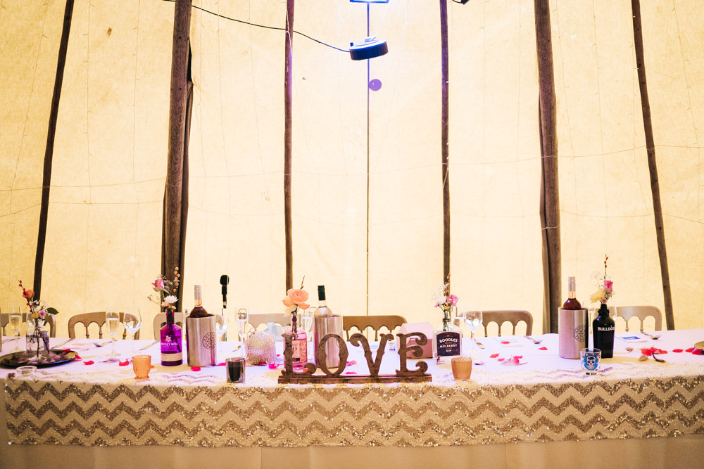 Top Table Decor Tipi Hammer and Pincers Wedding Sally T Photography