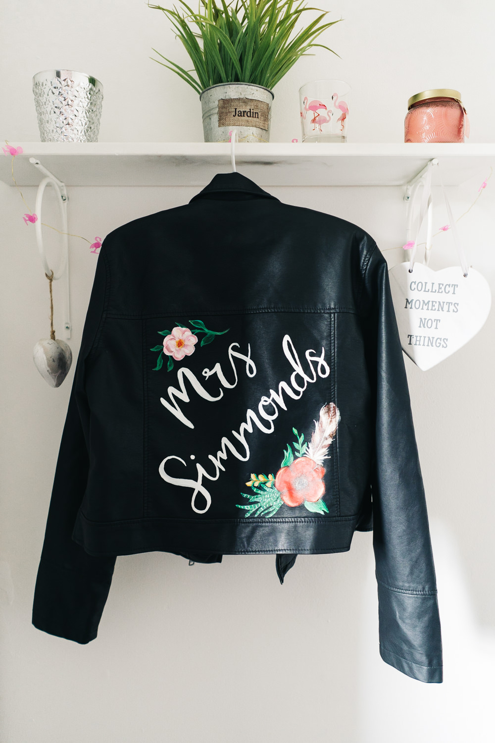 Bride Bridal Jacket Painted Hammer and Pincers Wedding Sally T Photography