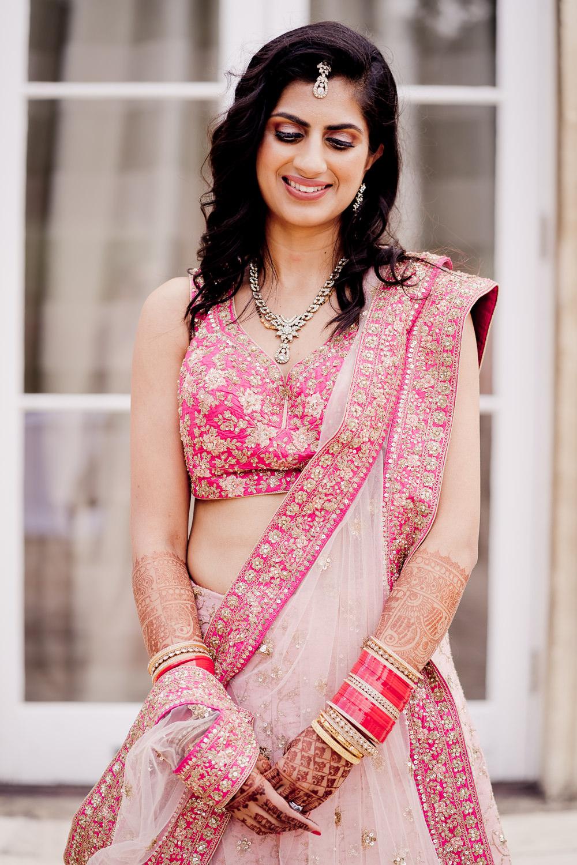 Pink Ombre Lengha Bride Bridal Indian Wedding UK Laura May Photography
