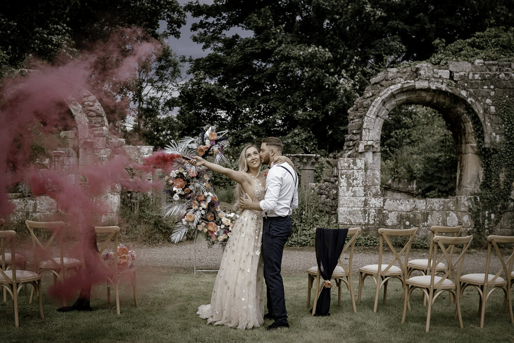 Smoke Bomb Midsummer Night's Dream Wedding Ideas Dani Louise Photography