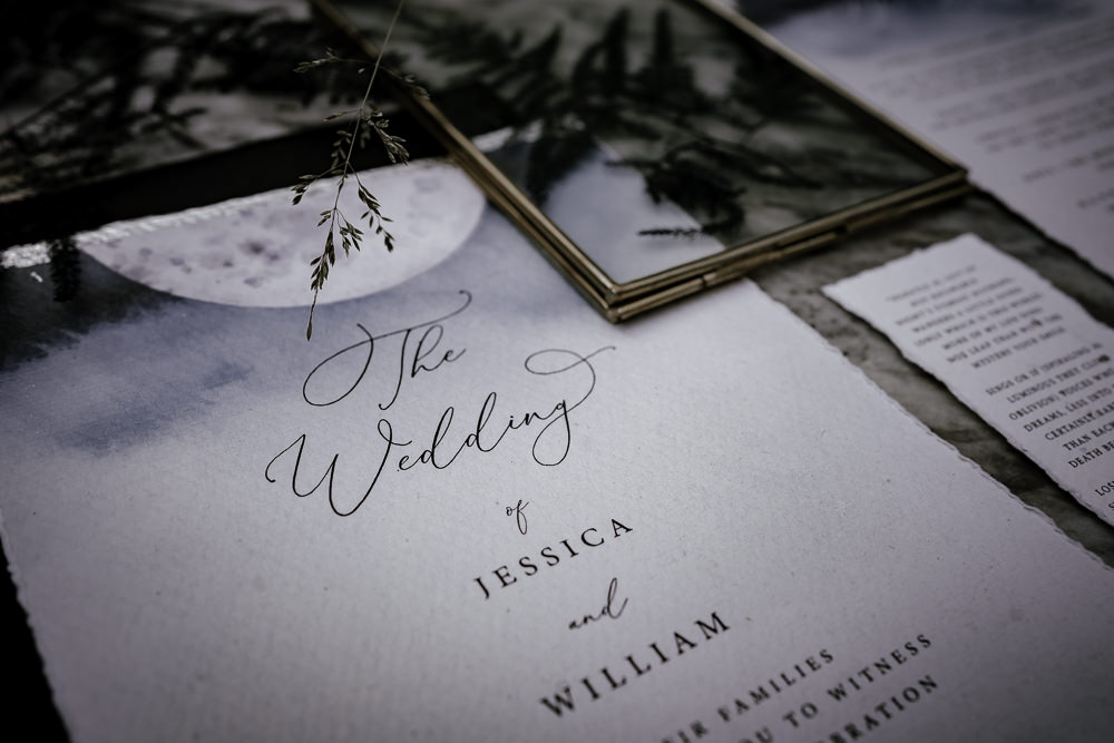 Stationery Celestial Grey Calligraphy Moon Midsummer Night's Dream Wedding Ideas Dani Louise Photography