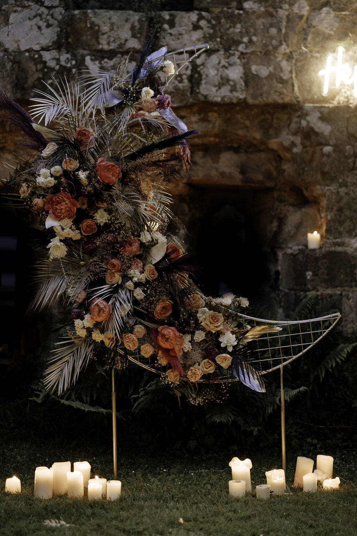 Crescent Moon Flowers Backdrop Decor Midsummer Night's Dream Wedding Ideas Dani Louise Photography