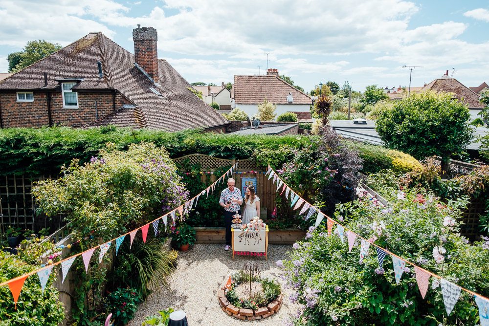 Bunting Ribbons Garden Pandemic Wedding Anna Pumer Photography