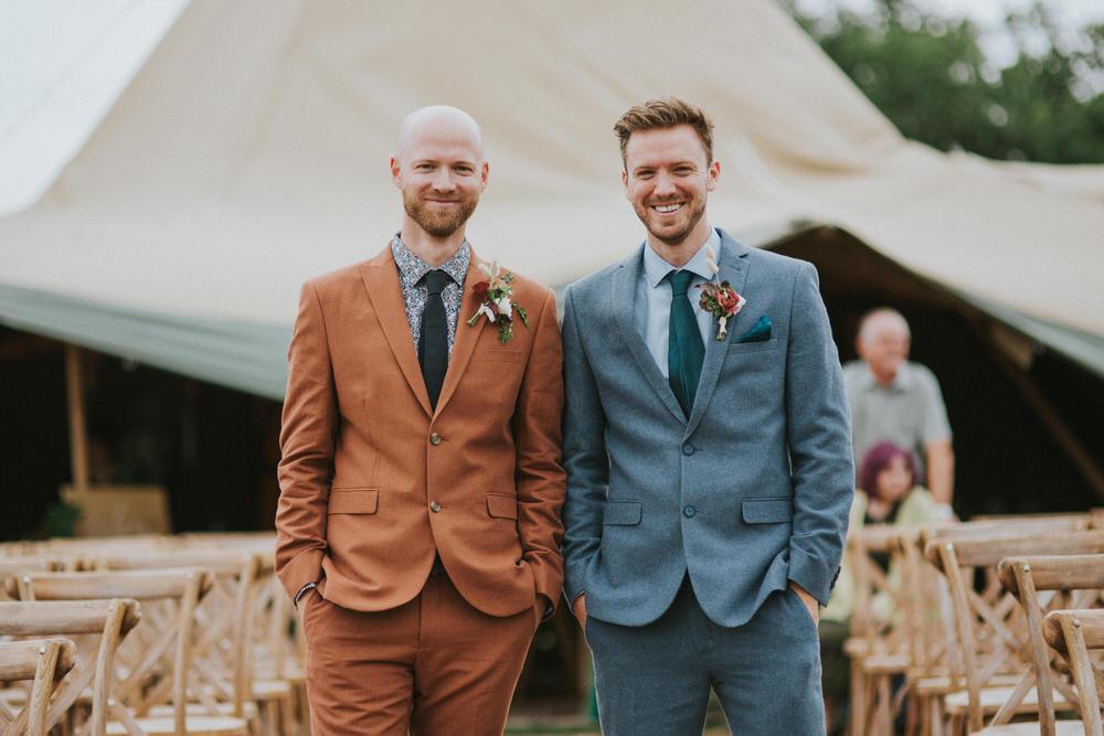 Groom Suit Rust Print Shirt Tie Buttonhole Flowers Groomsmen Pennard Hill Farm Wedding MT Studio