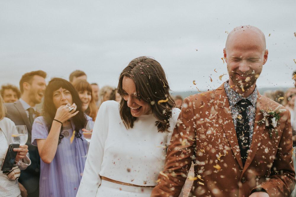 Confetti Throw Pennard Hill Farm Wedding MT Studio