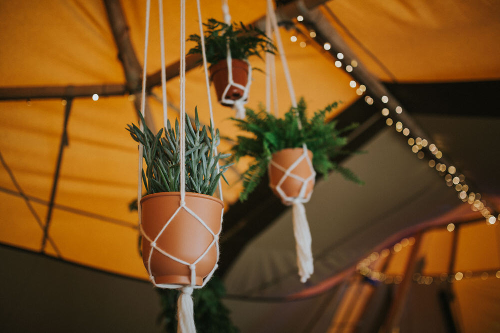 Pot Plants Macrame Hanging Pennard Hill Farm Wedding MT Studio
