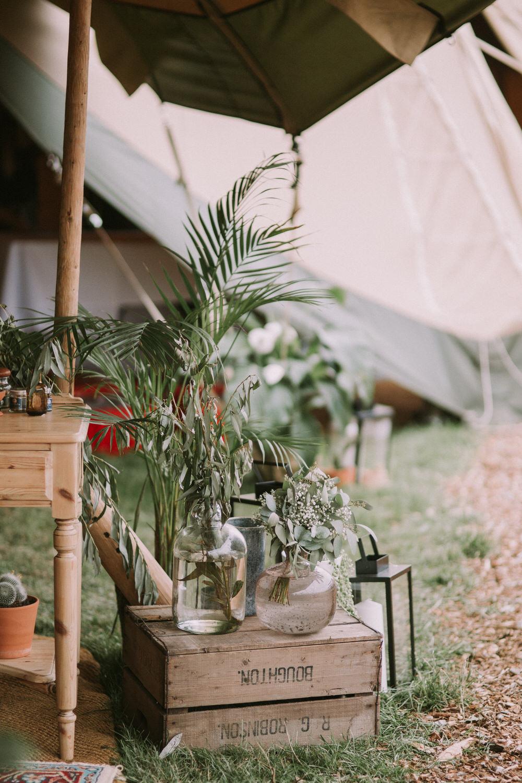 Wooden Box Flowers Decor Tipi Pennard Hill Farm Wedding MT Studio