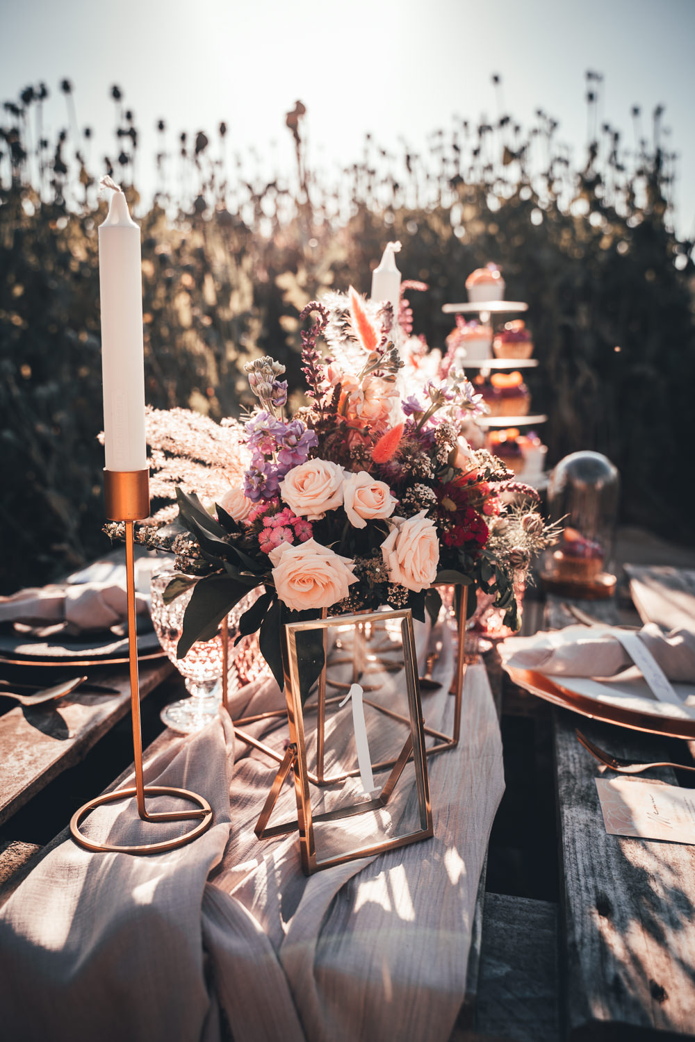 Wooden Pallet Table Tablescape Decor Flowers Candles Rustic Centrepiece Poppy Field Wedding NT Creatives