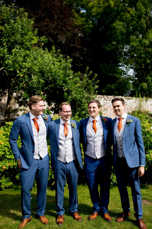 Groom Suit Navy Orange Tie Groomsmen Pythouse Kitchen Garden Wedding Jessica Hayman Photography