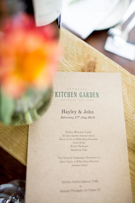 Menu Pythouse Kitchen Garden Wedding Jessica Hayman Photography