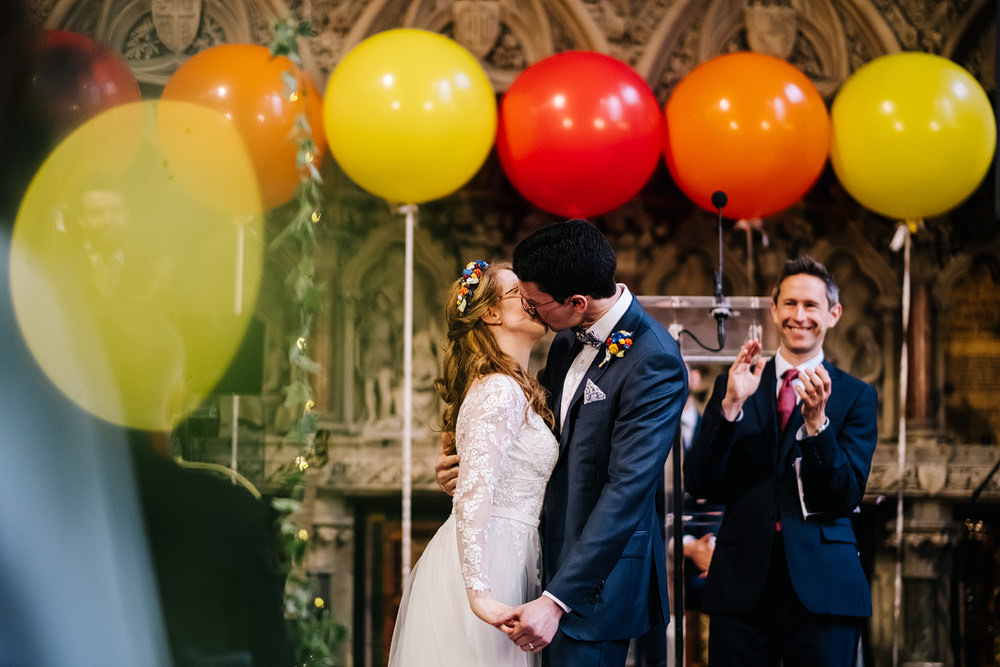 Balloon Ceremony Aisle Pew End Church Royal Hospital Chelsea Wedding Kristian Leven Photography