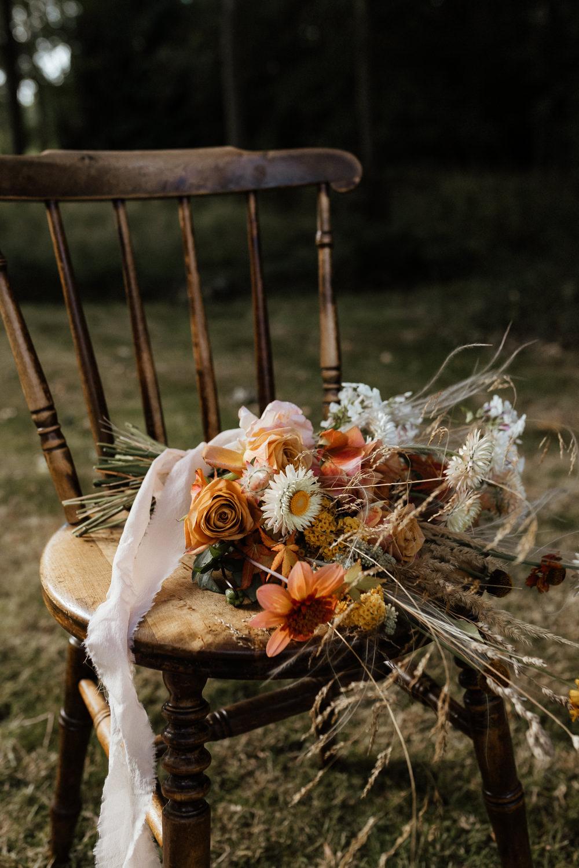 Bouquet Flowers Bride Bridal Grasses Rose Orange Peach Ribbon Small Wedding Ideas UK Caitlin and Jones