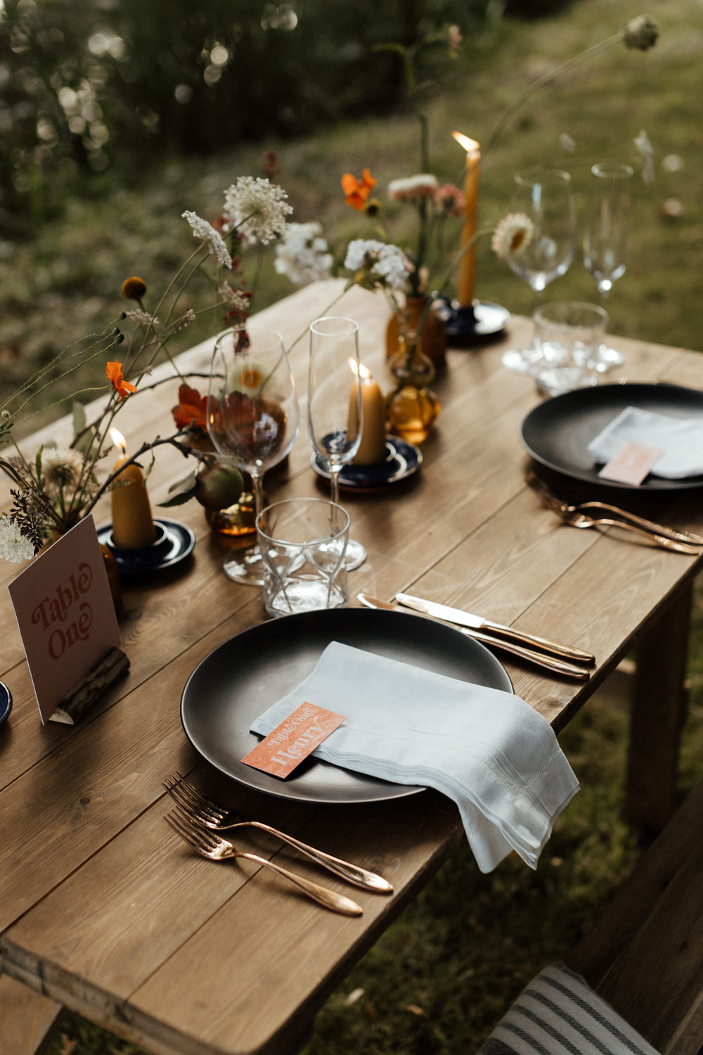 Table Tablescape Decor Flowers Candles Small Wedding Ideas UK Caitlin and Jones